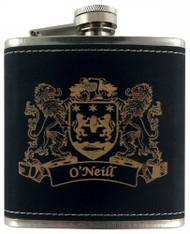 Irish Coat of Arms Black Leather Flask