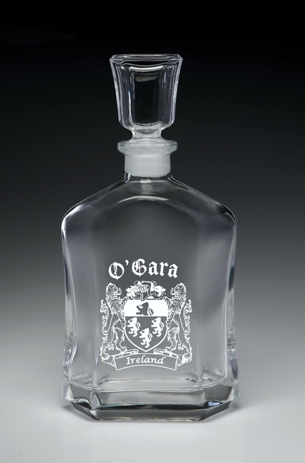 Whiskey Decanter with Coats of Arms - (Sand Etched)