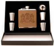 Irish Coat of Arms 5-Piece Leather Flask Set | Irish Rose Gifts
