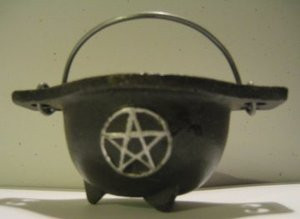 Cast Iron Mini Cauldron with Pentacle