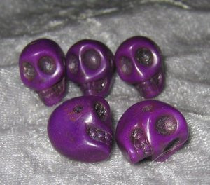 "Skull Beads 1/2"" Purple Howlite"