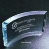 Blue Clear Curved Beveled Glass Award