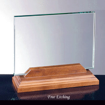 Horizontal Glass with Walnut Base
