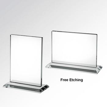 Horizontal or Vertical Rectangle Glass Award