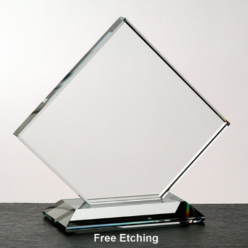 "1/2""  Crystal Clear Clipped Square Award"