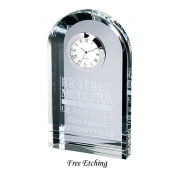 Crystal Royal Arch Tower Desk Clock