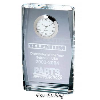 Beveled Plaque Crystal Desk Clock