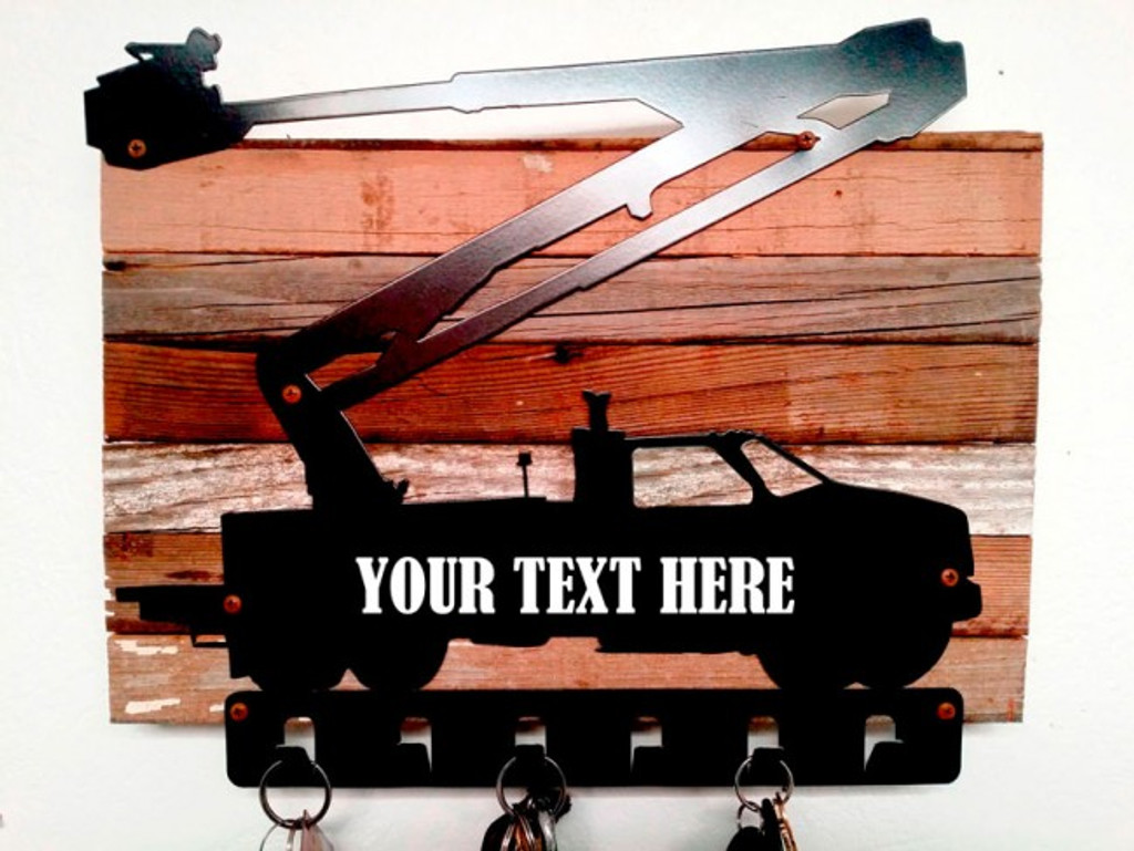 Bucket Truck Key Holder With Wood Backing - Personalized 12 x 15 Inches