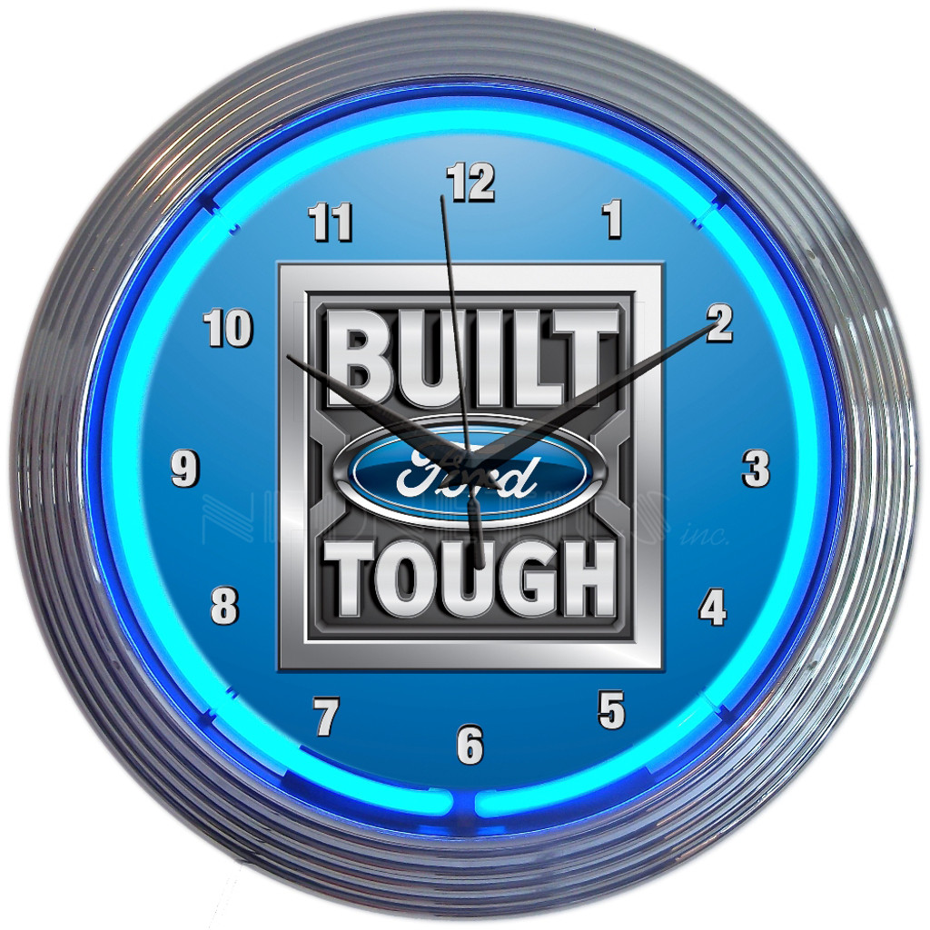Built Ford Tough Neon Clock 15 X 15 Inches