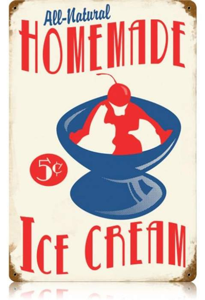 Vintage-Retro Homemade Ice Cream Metal-Tin Sign