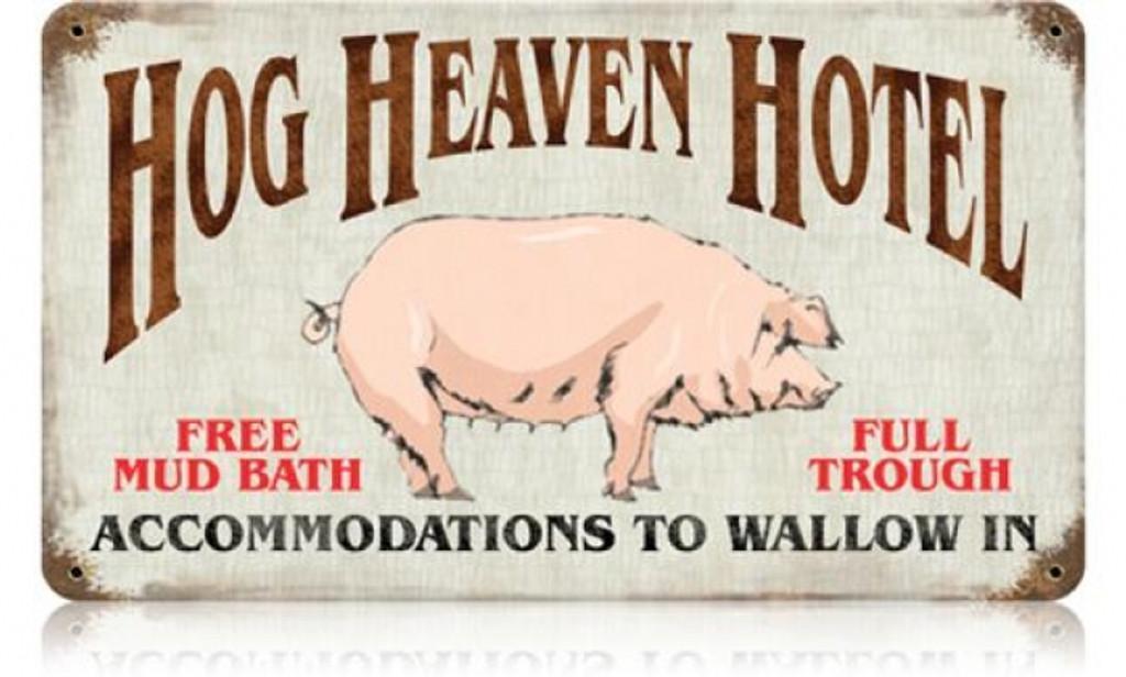 Vintage-Retro Hog Heaven Metal-Tin Sign