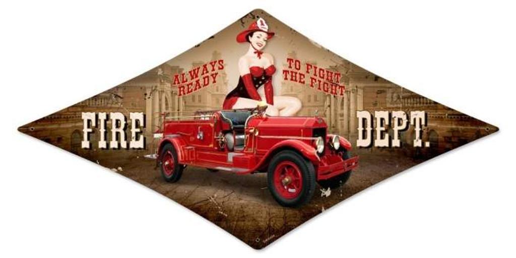 Vintage-Retro Fire Department Diamond - Pin-Up Girl Metal Sign -