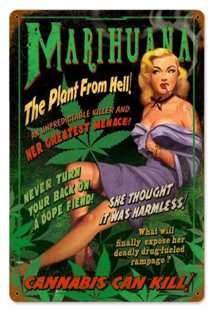 Vintage-Retro Marihuana Pin Up Metal-Tin Sign