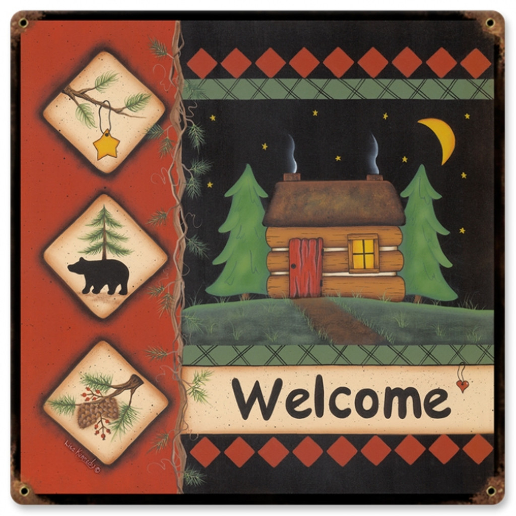 Vintage-Retro Welcome Cabin Metal-Tin Sign