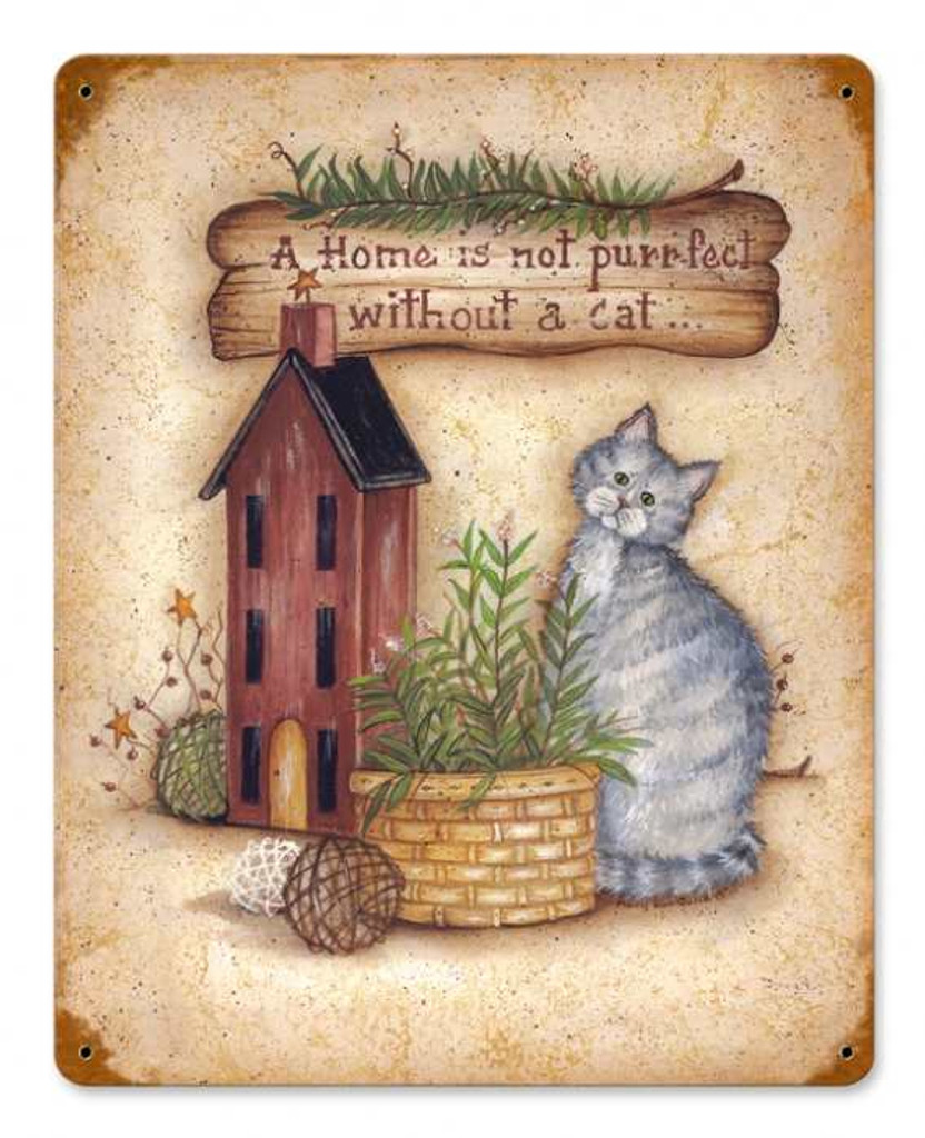 Vintage-Retro Home with Cat Metal-Tin Sign