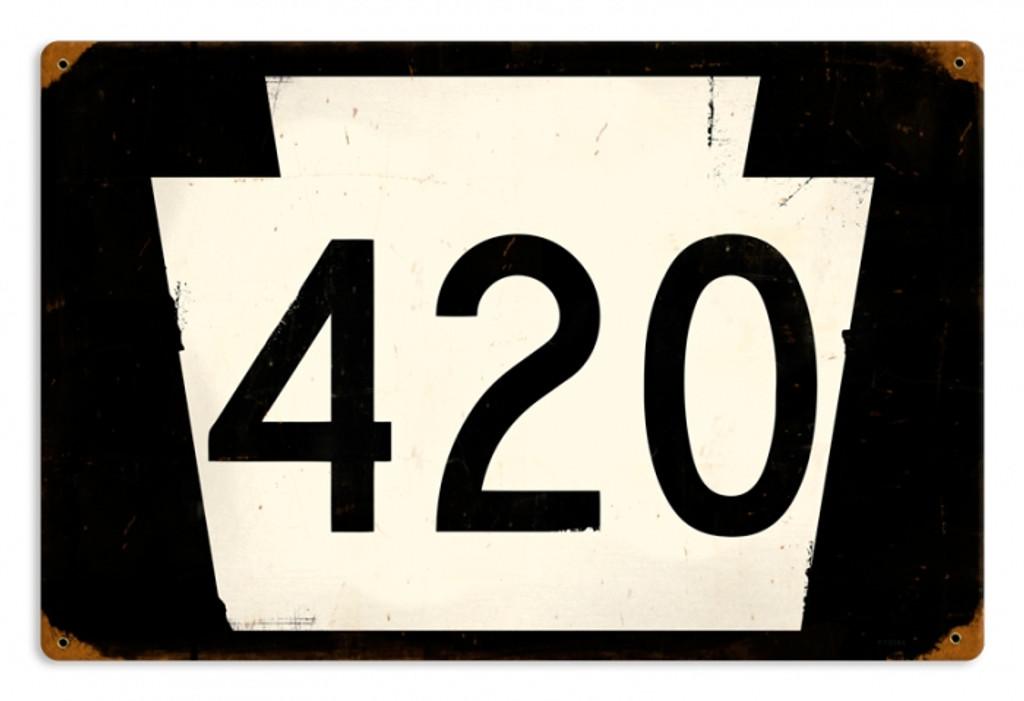 Vintage-Retro Route 420 Metal-Tin Sign
