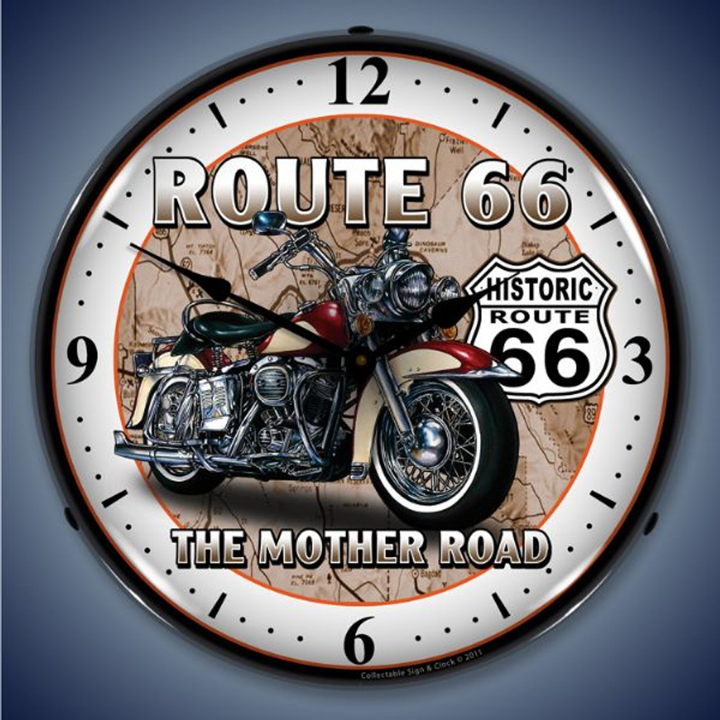 Vintage-Retro  Route 66 Bike Lighted Wall Clock