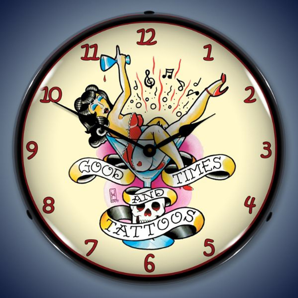 Vintage-Retro  Tattoo Girl in Glass Lighted Wall Clock