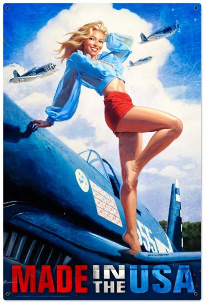 Retro Made In The Usa Pin Up Girl Metal Sign 24 X 36 Inches