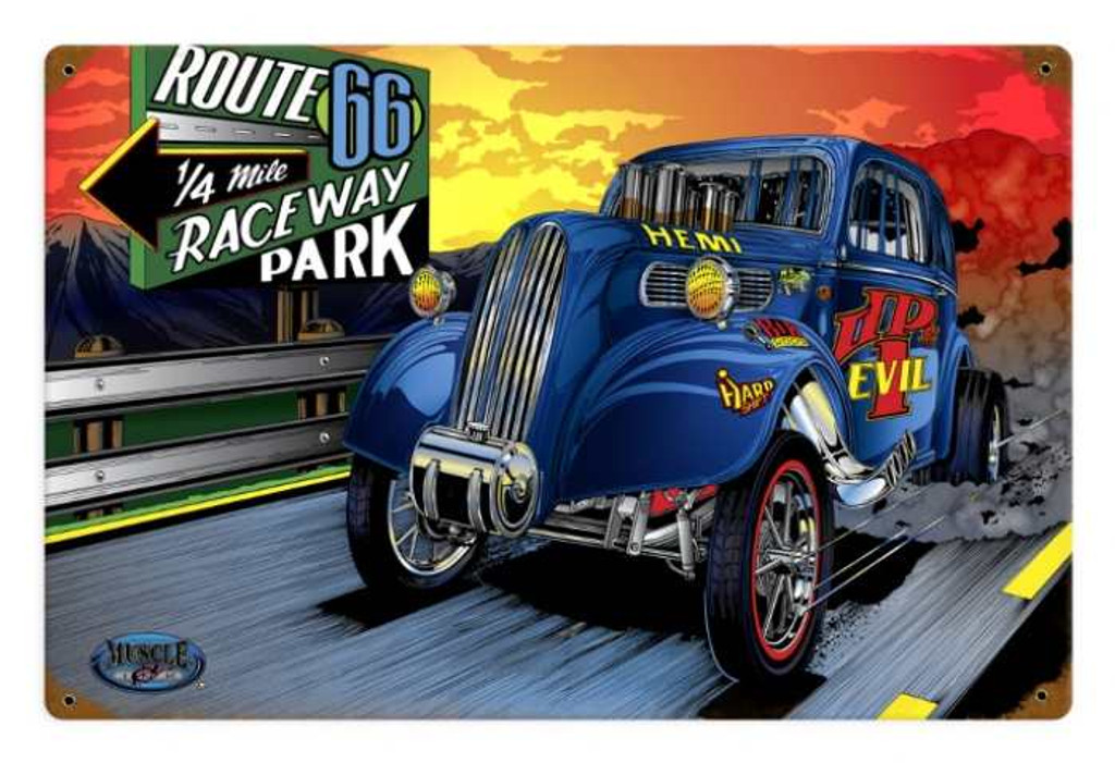 Retro Gasser Evil Tin Sign
