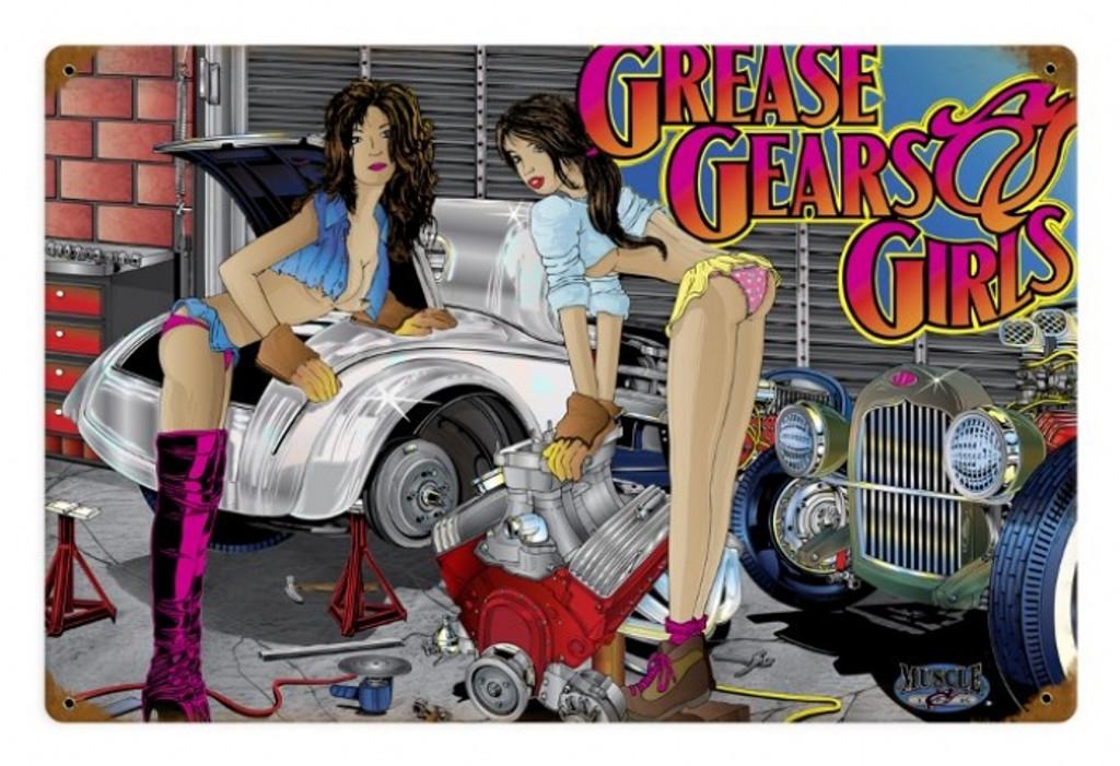 Vintage  Girls, Gears, Grease Metal Sign