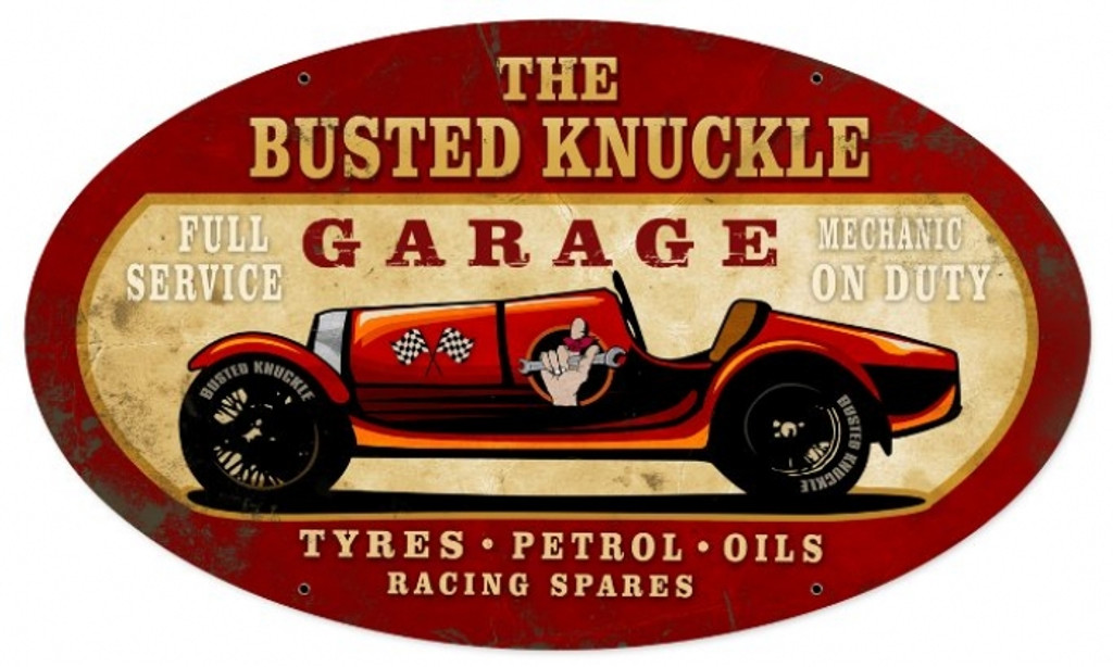 Vintage  Old Race Car Tin Sign 2