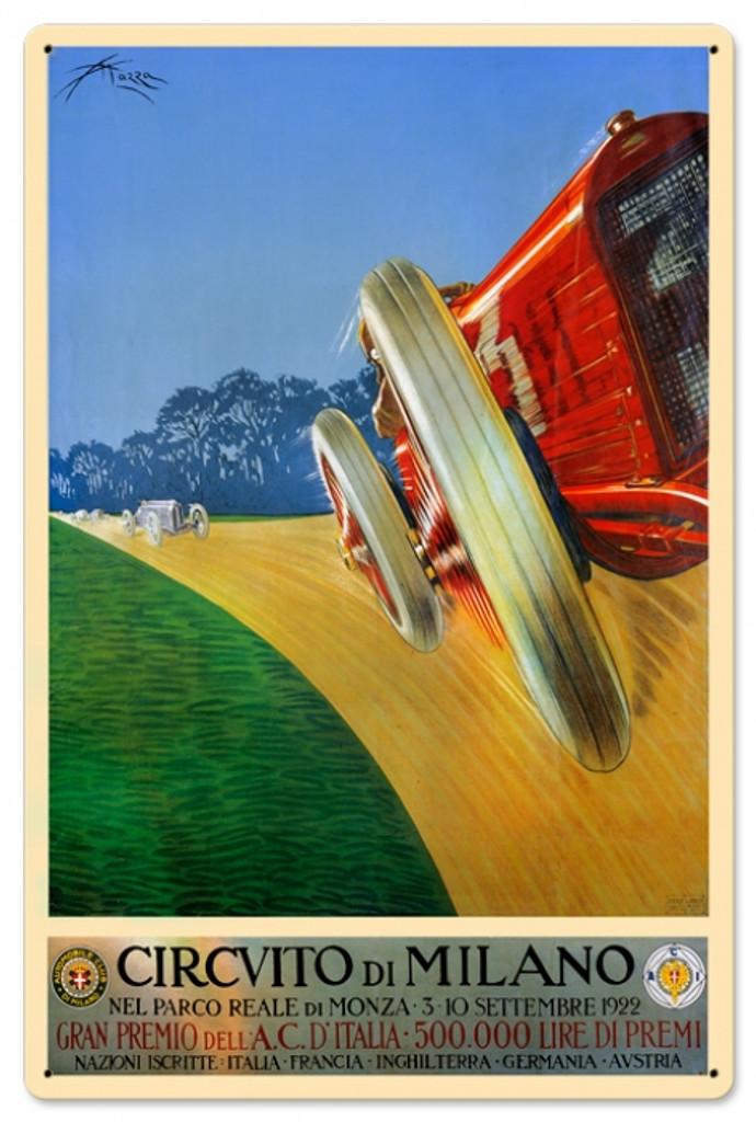 Vintage Milan Grand Prix 24 x 16 inches Tin Sign