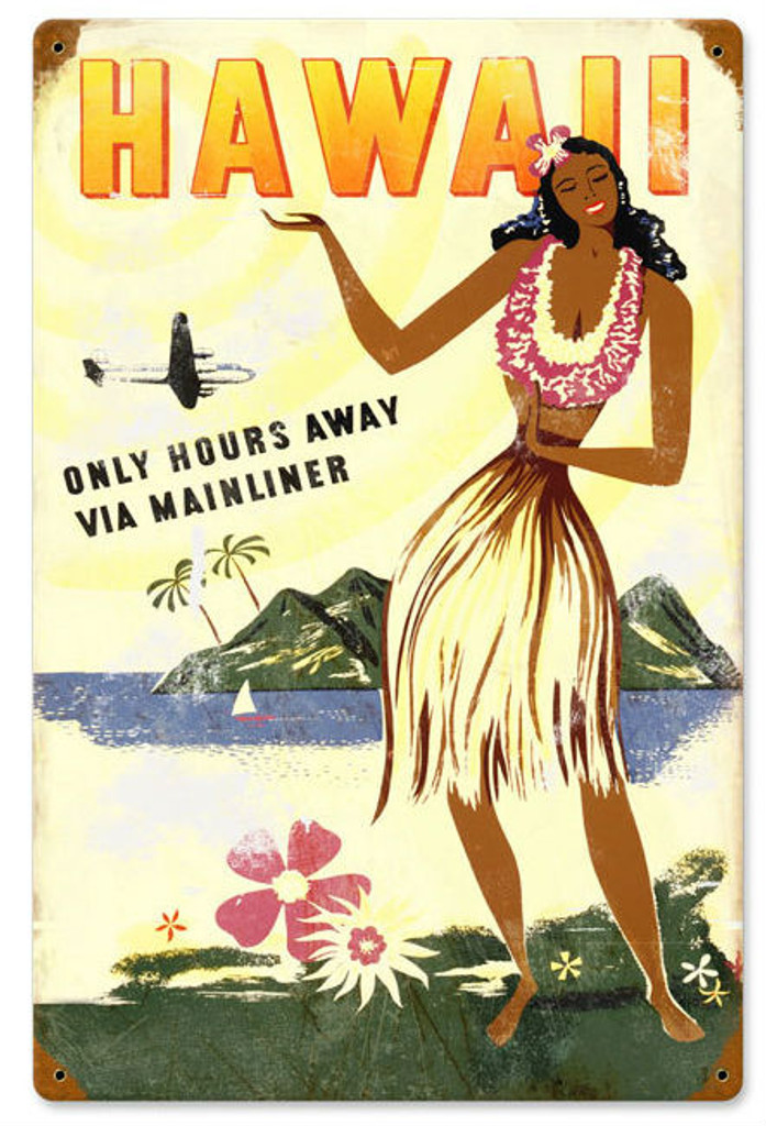 Retro Hawaii Hours Away Metal Sign 12 x 18 Inches
