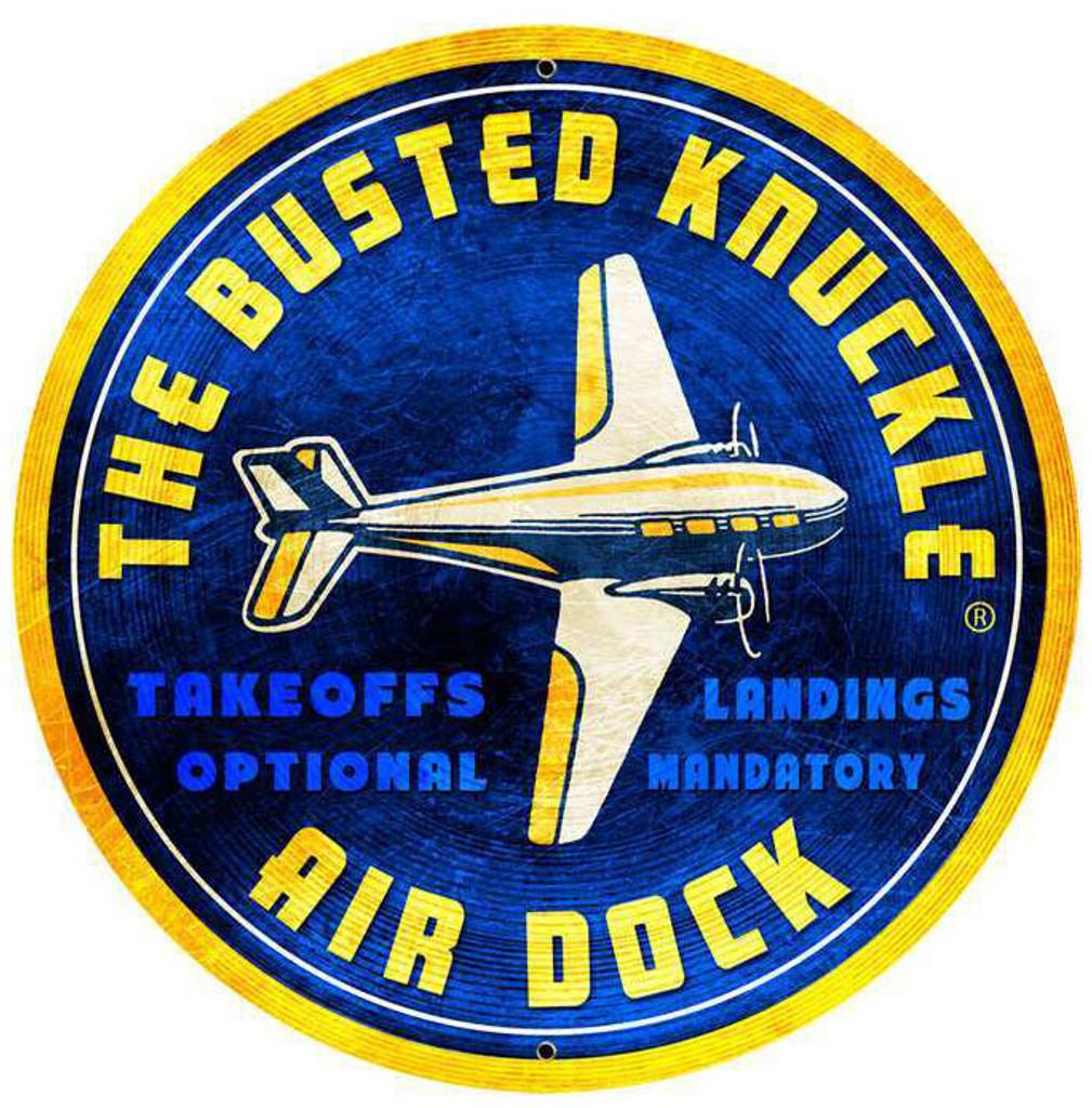 Retro Air Dock Round Metal Sign