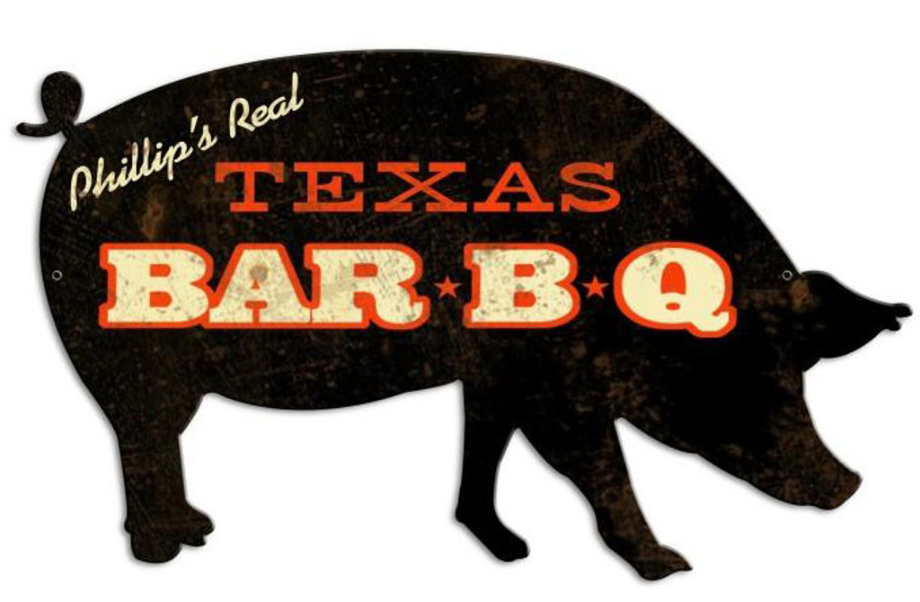 BBQ Pig Tin Sign - Personalized  26 x 15 Inches