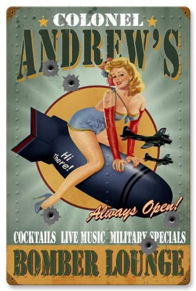 Vintage-Retro Bomber Lounge - Pin-Up Girl Metal Sign -  - Personalized