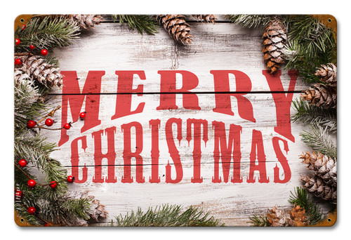 Merry Christmas Wood Pine Metal Sign 12 x 18 Inches