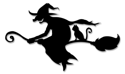 Witch And Cat Broom Silhouette Metal Sign 22 x 13 Inches