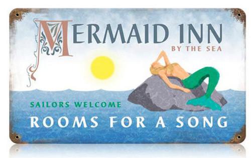 Mermaid Inn Metal Sign 14 x 8 Inches