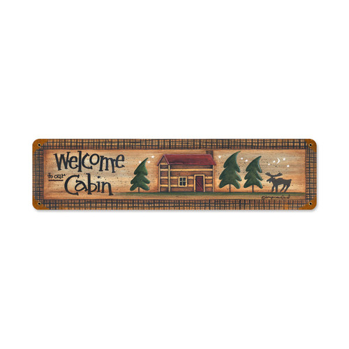 Welcome Cabin Metal Sign 20 x 5 Inches