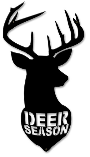 Deer Season Silhoutte Metal Sign 11 x 22 Inches