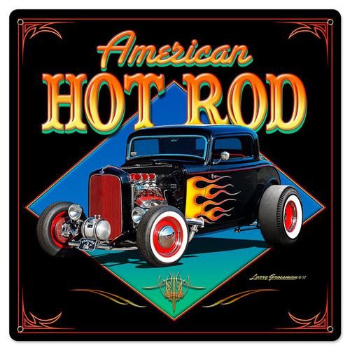 American Hot Rod 32 Metal Sign 24 x 24 Inches