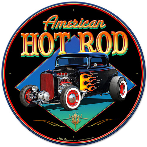 American Hot Rod 32 Metal Sign 28 x 28 Inches