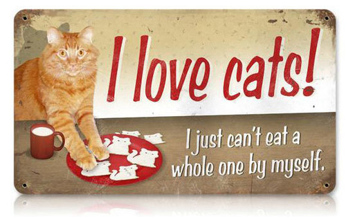 I Love Cats Metal Sign 14 x 8 Inches