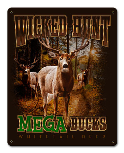 Deers Mega Bucks Metal Sign 12 x 15 Inches
