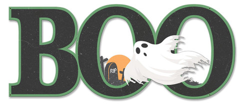 Boo Ghost Metal Sign 23 x 10 Inches