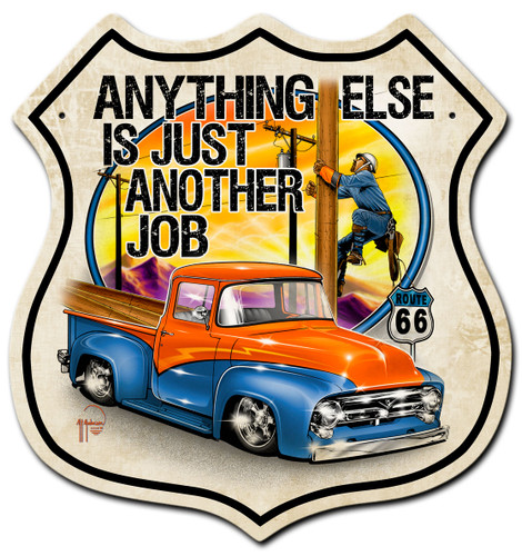Lineman Route 66 Metal Sign 15 x 15 Inches