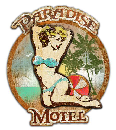 3-D Layered Paradise Motel Metal Sign 24 x 21 Inches