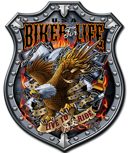 Bikers For Life Metal Sign 14 x 18 Inches