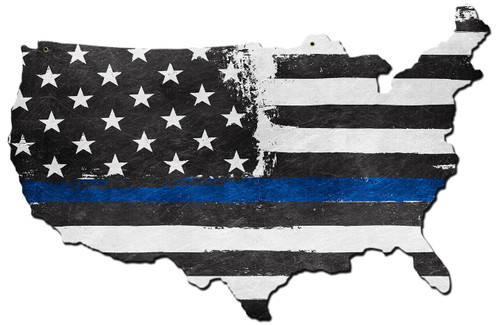 Usa Map Thin Blue Line Metal Sign 19 x 13 Inches