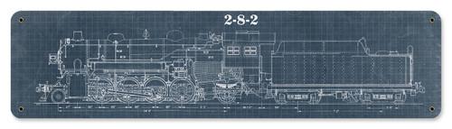 Train Blue Print 2-8-2 Metal Sign 20 x 5 Inches