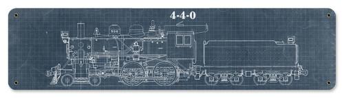 Train Blue Print 4-4-0 Metal Sign 20 x 5 Inches