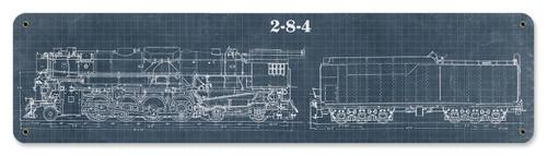 Train Blue Print Metal Sign 20 x 5 Inches