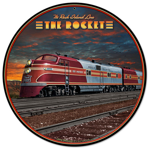 Rocket Train Metal Sign 14 x 14 Inches