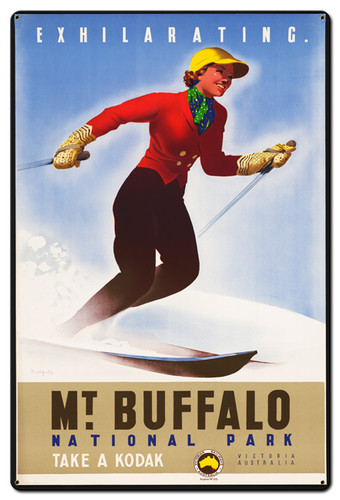 Mt Buffalo Skiing Metal Sign 24 x 36 Inches